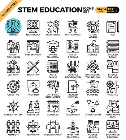 STEM (ciencia, tecnología, ingeniería, matemáticas) concepto de educación iconos de línea detallada conjunto en línea moderna concepto de estilo de icono para ui, ux, web, diseño de aplicaciones Ilustración de vector