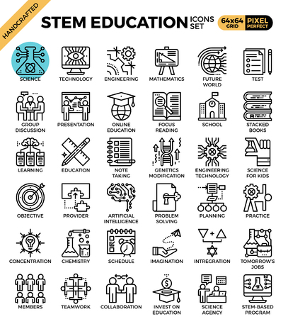 STEM (science,technology,engineering,math) education concept detailed line icons set in modern line icon style concept for ui, ux, web, app design