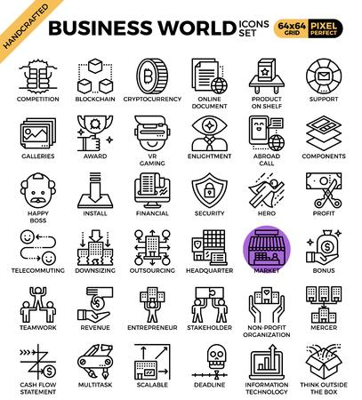 Koncepcja Business World szczegó? Owe ikony linii ustawi? W nowoczesnej linii ikona koncepcji stylu dla ui, ux, web, projektowanie aplikacji