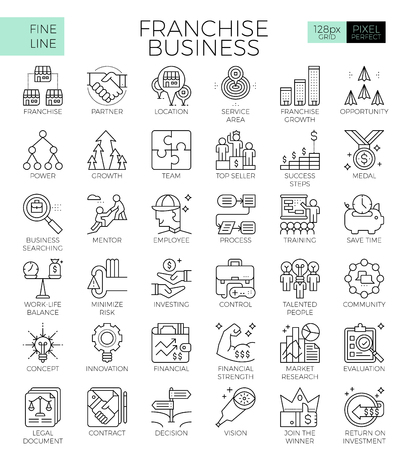 Franchise business concept detailed line icons set in modern line icon style concept for ui, ux, web, app design