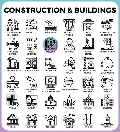 Construction & Buildings concept detailed line icons set in modern line icon style concept for ui, ux, web, app design Illustration