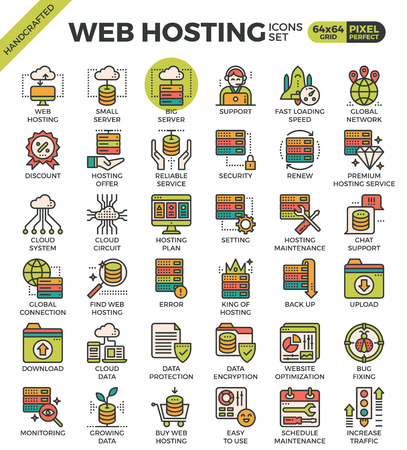 Web hosting concept detailed line icons set in modern line icon style concept for ui, ux, web, app design