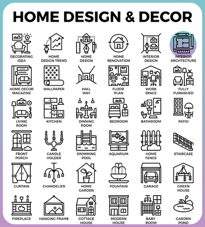 garage on house: Home Design and Decor concept detailed line icons set in modern line icon style concept for ui, ux, web, app design