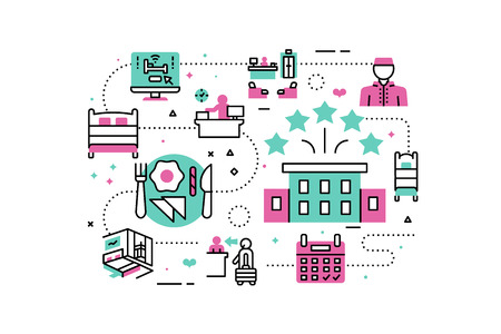 hotel staff: Hotel Service & Facilities line icons illustration. Design in modern style with related icons ornament concept for website, app, web banner. Illustration