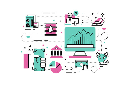 Investment line icons illustration. Design in modern style with related icons ornament concept for website, app, web banner.