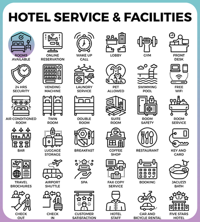 Hotel Service & Facilities concept detailed line icons set in modern line icon style concept for ui, ux, web, app design
