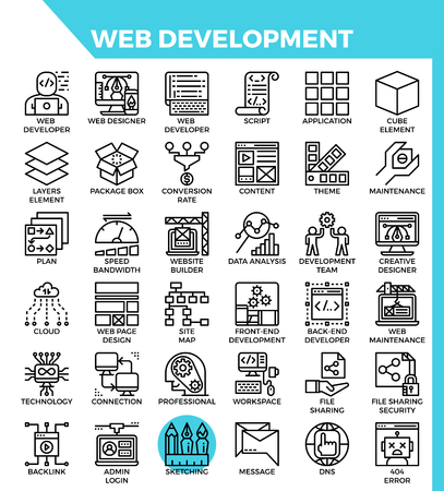 Web development concept detailed line icons set in modern line icon style for ui, ux, web, app design