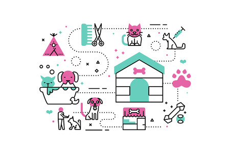 lonely person: Animal shelter line icons illustration. Design in modern style with related icons ornament concept for website, app, web banner. Illustration