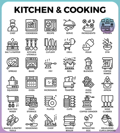 Kitchen and cooking concept detailed line icons set in modern line icon style concept for ui, ux, web, app design Illustration