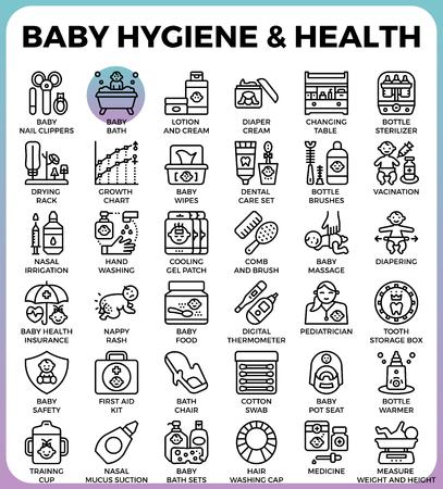 Baby Hygiene und Gesundheit Konzept detaillierte Linie Symbole in modernen Linie Icon-Stil-Konzept für ui, ux, Web, App-Design gesetzt Standard-Bild - 80496676