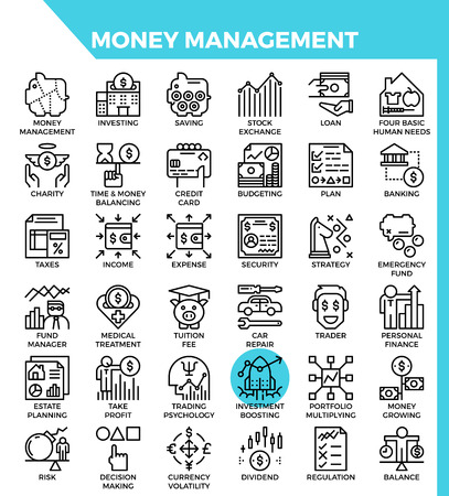 Money management concept detailed line icons set in modern line icon style for ui, ux, web, app design Illustration