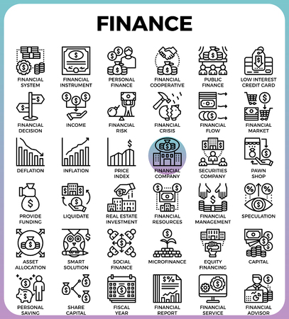 Finance concept detailed line icons set in modern line icon style for ui, ux, web, app design