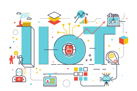 IIoT : industrial internet of things, word illustration for business concept. Design in modern style with related icons ornament concept for ui, ux, web, app banner illustration