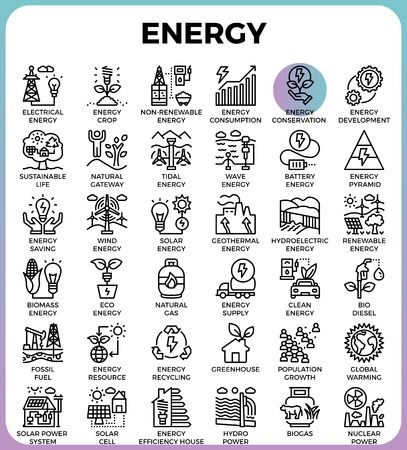 Energy concept detailed line icons set in modern line icon style for ui, ux, web, app design  イラスト・ベクター素材