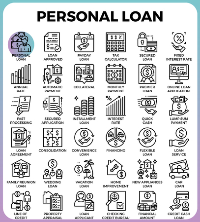 Personal loan concept detailed line icons set in modern line icon style for ui, ux, web, app design Vectores