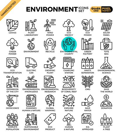 Environment & eco concept detailed line icons set in modern line icon style for ux, web, app design Illustration