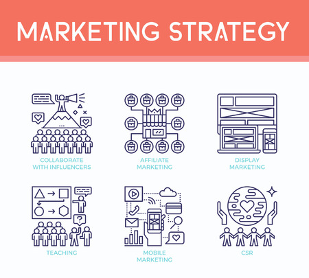 Marketing strategy illustration icons in business concept in modern line style Illustration
