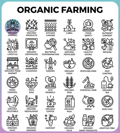contamination: Organic farming concept detailed line icons set in modern line icon style for ui, ux, web, app design
