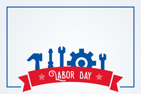 Happy labor day background illustration with tools and copy space