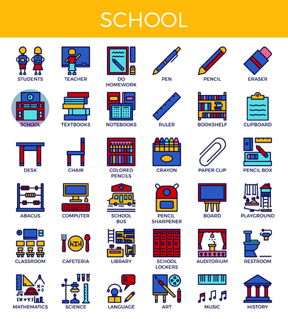 School concept detailed line icons set in modern line icon style for ui, ux, website, web, app graphic design Illustration