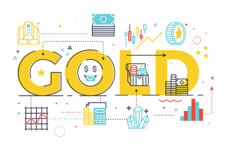 Gold word lettering illustration for education concept. Design in modern style with related line icons ornament concept for ui, ux, web, app banner illustration