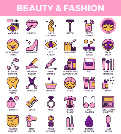 Beauty and fashion concept detailed line icons set in modern line icon style for ui, ux, website, web, app graphic design