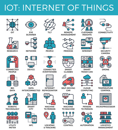 Set of internet of things concept detailed modern line icons.