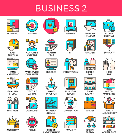 Business essential line icons set in modern line icon style for ui, ux, website, web, app graphic design Illustration