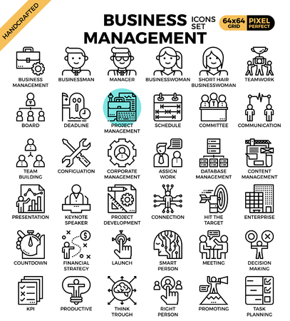 Business management concept detailed line icons set in modern line icon style for ui, ux, website, web, app graphic design