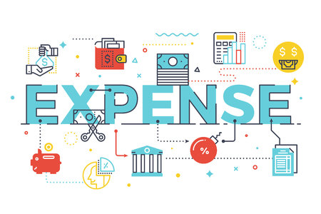 Expense word lettering illustration. Design in modern style with related line icons ornament concept for ui, ux, web, app banner