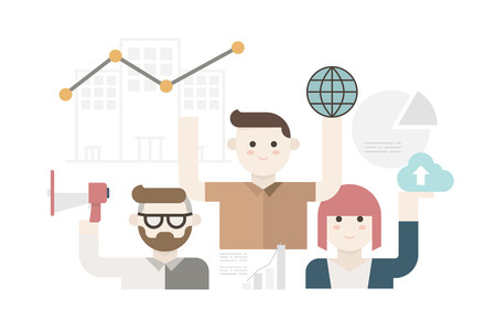 b2b: Cute modern business people in global digital marketing concept Vectores