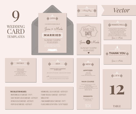 Vintage Minimal Wedding Invitation Card Collection Set Template Layout