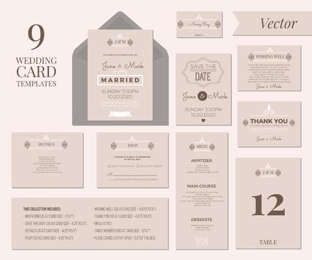 Vintage Minimal Wedding Invitation Card Collection Set Template Layout