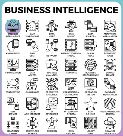 Business intelligence(BI) concept line icon style for ui, ux, website, web, app graphic design Ilustracja