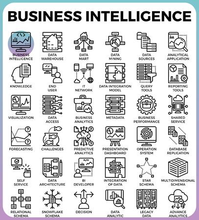 Business intelligence(BI) concept line icon style for ui, ux, website, web, app graphic design Illustration