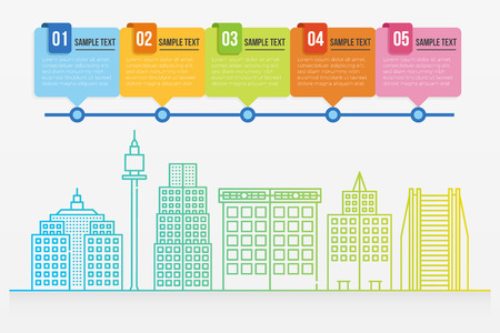 Colorful gradient line cityscape buildings infographic template Illustration