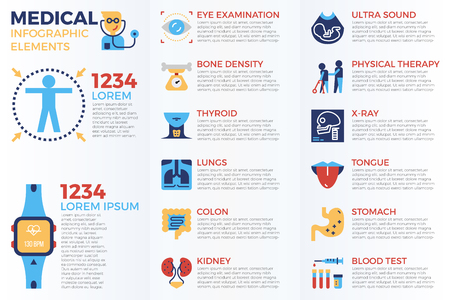 Medical infographic elements with illustrations and icons for data report  and information presentation