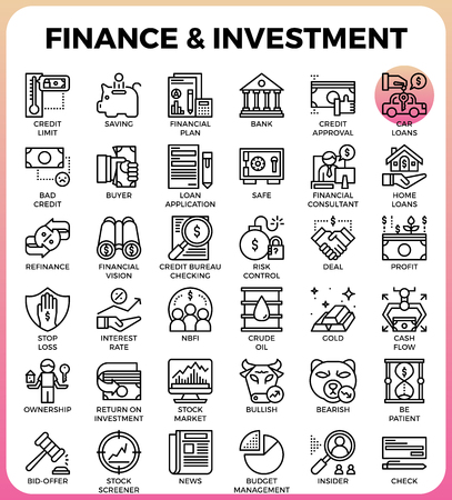 Finance & Investment concept line icon style for ui, ux, website, web, app graphic design