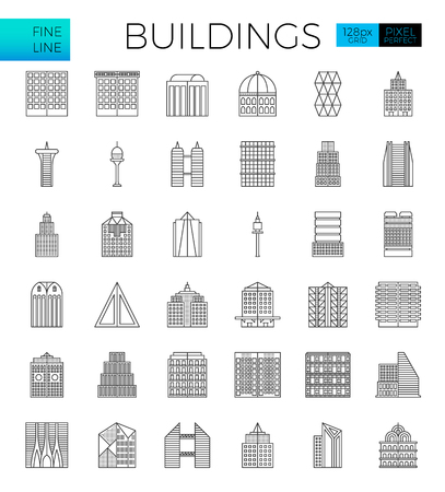 Building in the city icons set in modern line icon style for ui, ux, website, web, app graphic design Illustration