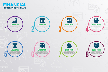 Financial infographic template with icons and number option