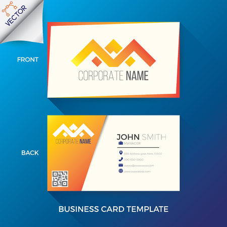 Business name card template in creative,  modern and clean style with front and back layout
