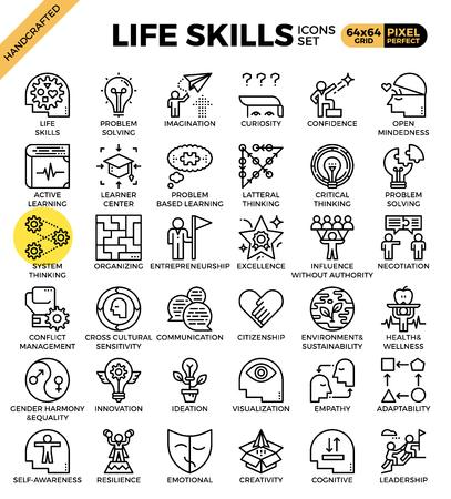 Le icone di concetto di abilità di vita hanno messo nella linea moderna stile dell'icona per la ui, il ux, il sito Web, il web, progettazione grafica di app
