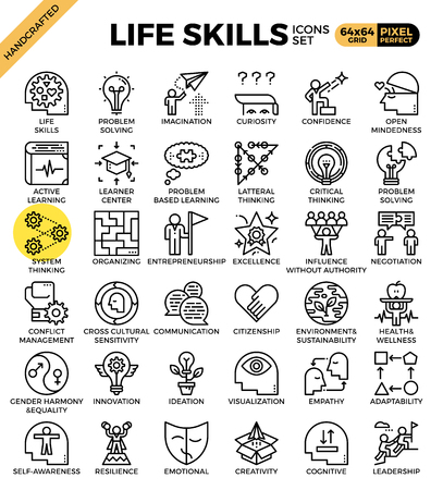 Life skills concept icons set in modern line icon style for ui, ux, website, web, app graphic design