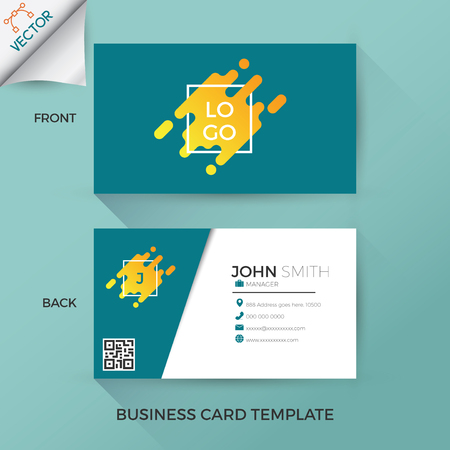 Business card template in creative, modern and clean style with front and back layout