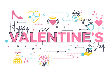 Happy Valentines day word lettering illustration with icons for web banner, card or poster.