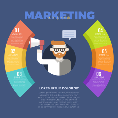 Marketing strategy with businessman holding megaphone infographic template Illustration