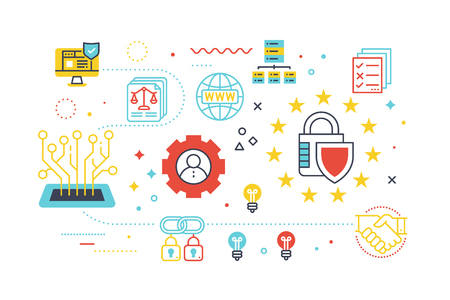 Data security protection concept illustration with line icons.