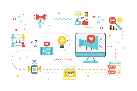 Social media marketing concept illustration with line icons.