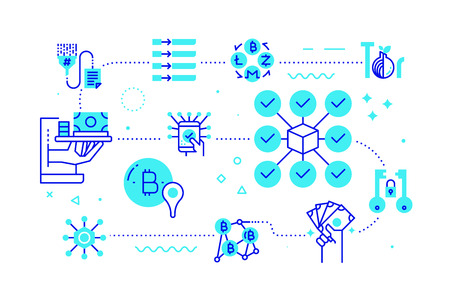 Block chain technology concept line illustration in blue theme.