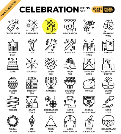 Celebration concept icons set in modern line icon style for ui, ux, website, web, app graphic design.